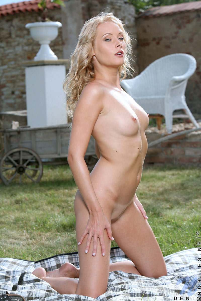 Блондинистая ухоженная стройняшка Deni Nubiles фотографируется полностью голой на заднем дворике. Порно стройный.